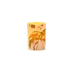Petit photophore LED Flamant Rose-H 6,7CM