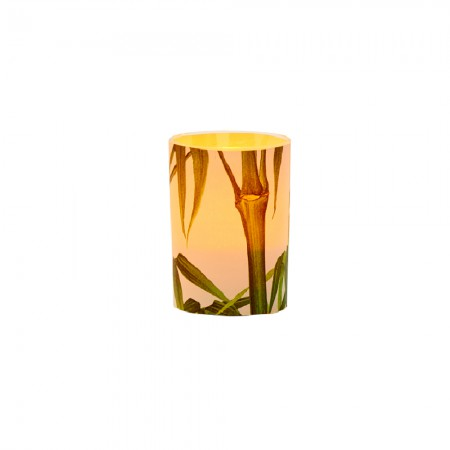 LED candle holder Bamboo- H 6,7 cm