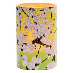 Large LED candle holder Light Green Cherry Blossom - H11.5CM