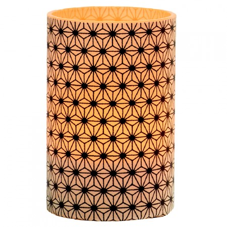 LED Black Crystals Candle Holder - H11.5cm