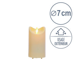 Outdoor LED candle in Resin with moving flame - Ivory - H12.5CM