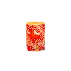 Small LED candle holder Red cranes - H6.7CM