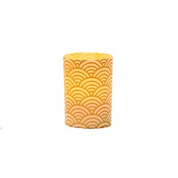 Small LED candle holder Large Gold Wave - H 6.7 cm