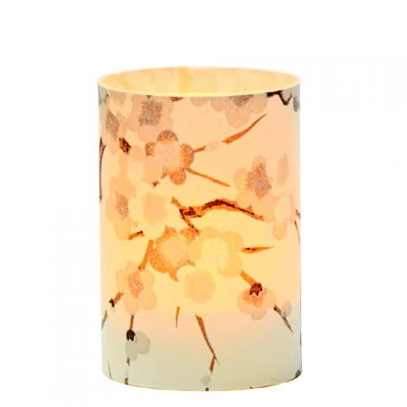 LED candle holder Pastel Grey Cherry Blossom - H 9 cm