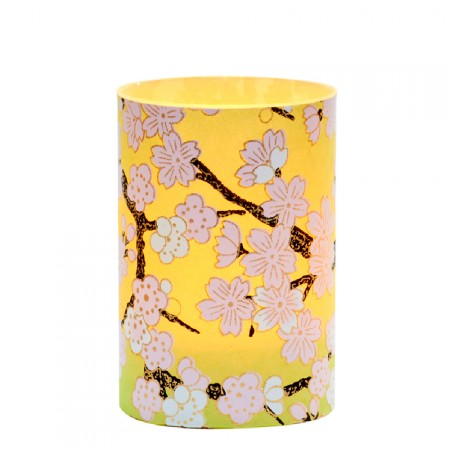 LED candle holder Green Cherry Blossom - H 9 cm