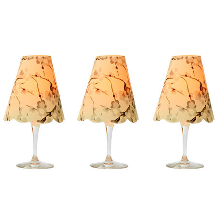 3 lampshades for wine glass for led candles - grey