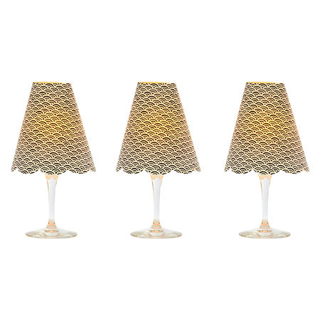 3 lampshades for wine glass - black waves