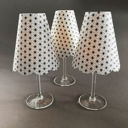 3 lampshades for wine glass for led candles - black and white chrystals