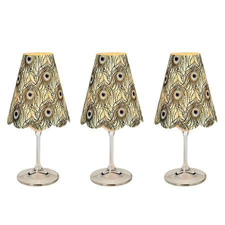 3 lampshades for wine glass - peacock feathers