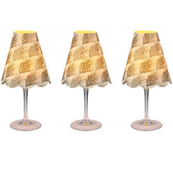 3 lampshades for wine glass - brown feathers