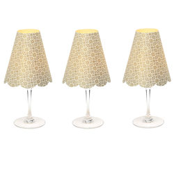 3 lampshades for wine glass - large gold flowers