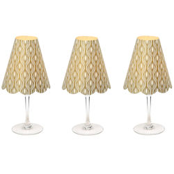 3 lampshades for wine glass - gold vertical waves