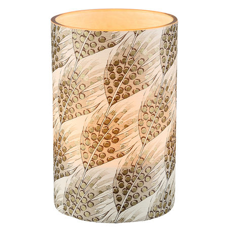 Large LED candle holder Brown & Grey Feathers - H11.5CM