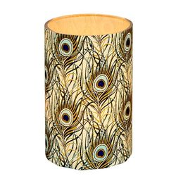LED candle holder Gold and Silver Feathers - H11.5CM