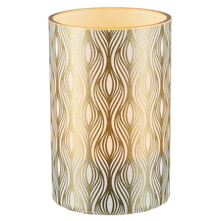 Large LED candle holder Gold Vertical Waves - H11.5CM