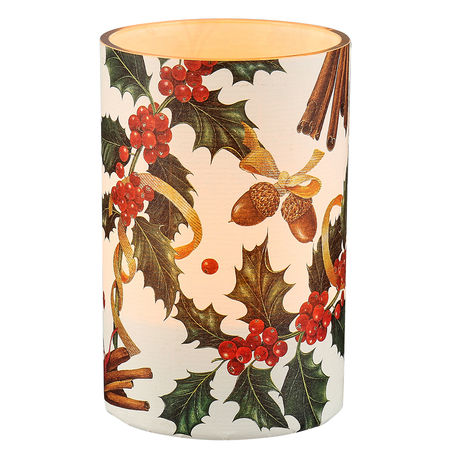 Large LED candle holder Christmas Holly - H11.5CM