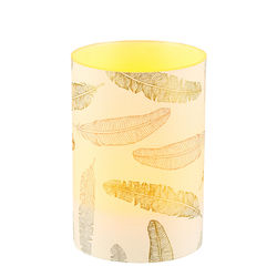 LED candle holder Gold and silver feathers - H9CM