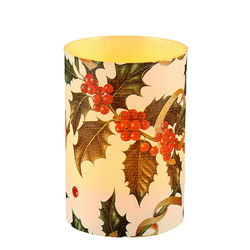 LED candle holder Christmas Holly - H 9 cm