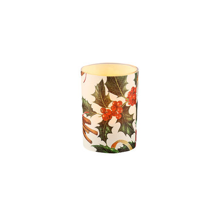 LED candle holder Christmas Holly - H 6,7 cm
