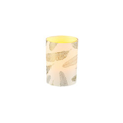 Small LED candle holder Gold and silver feathers - H 6.7CM