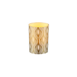 LED candle holder Gold Vertical Waves - H 6,7 cm