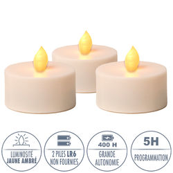 3 amber yellow LED tealights - Ø6.5CM