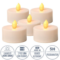5 Warm yellow LED tealights  Ø6.5CM