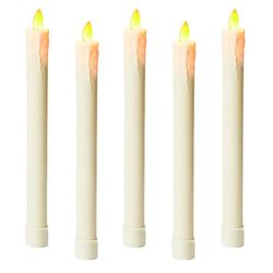 5 Retro taper candles with moving flame