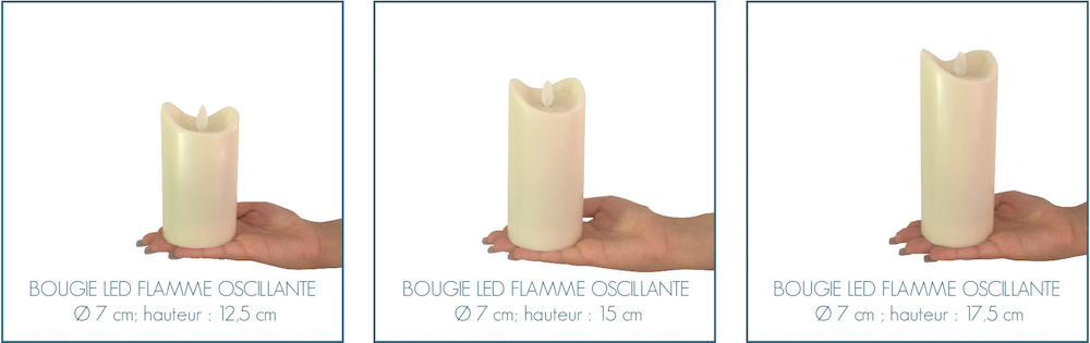 taille bougies led flamme oscillante