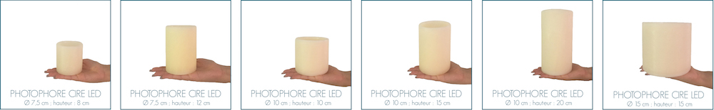 taille photophores led en cire