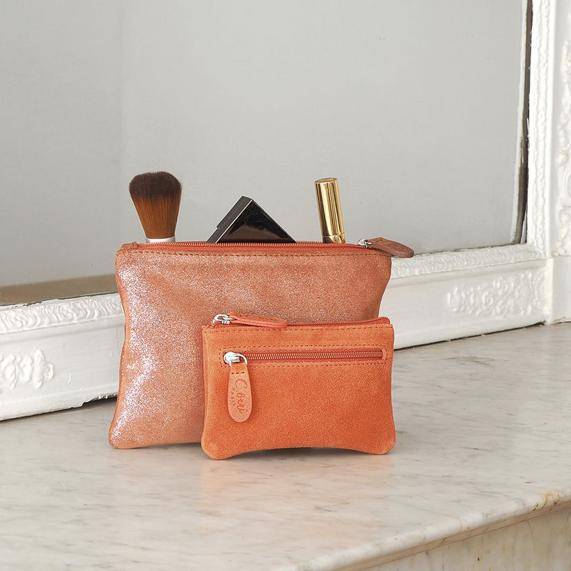 FLAT LEATHER PURSE for HANDBAGS as a WALLET