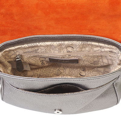 grey grained leather crossbody, small size,