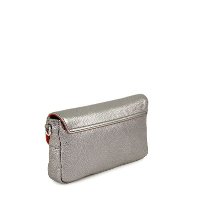 Grained leather silver clutch bag