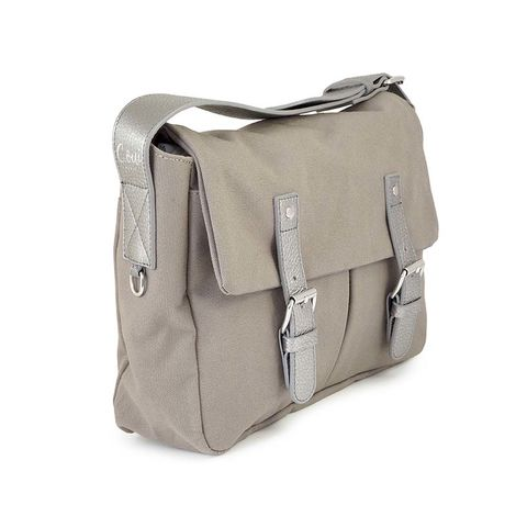 Taupe cotton canvas messenger with leather trim