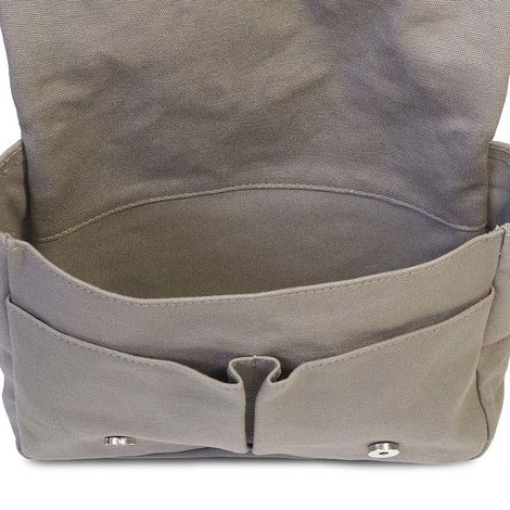 taupe cotton canvas messenger bag with brown leather trim
