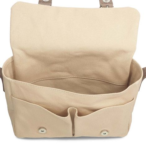 beige cotton canvas messenger bag with brown leather trim