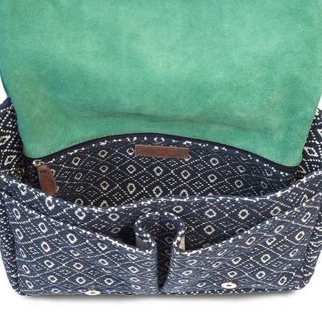 Jacquard fabric and leather flap satchel bag