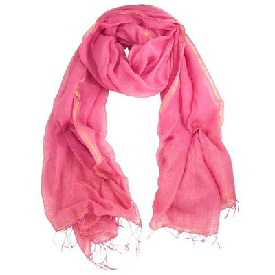 COTTON & LUREX HIPPI PINK SCARF
