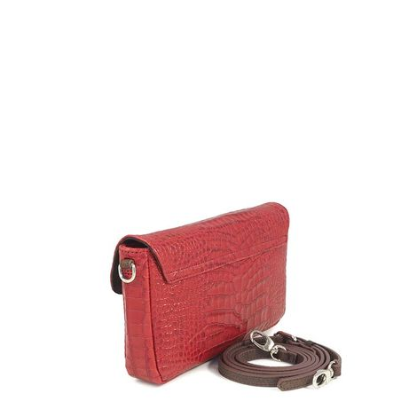 RED CROCO LEATHER  CLUTCH BAG TOSCANE 29