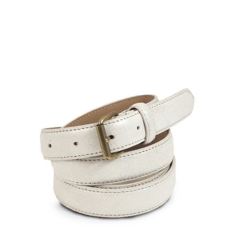 WHITE LEATHER BELT  25 MM