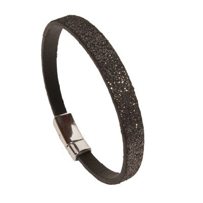 BLACK LEATHER BRACELET-