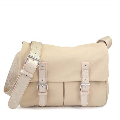 Beige cotton canvas messenger with leather trim