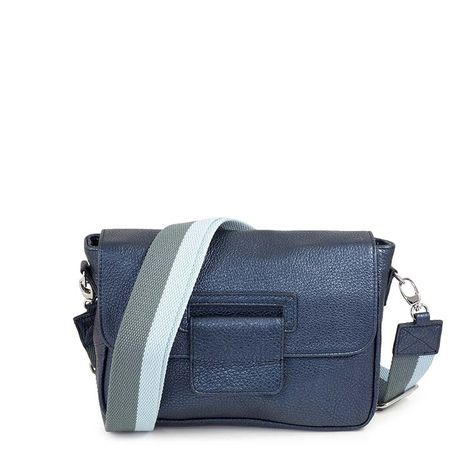 grained leather crossbody, small size,blue