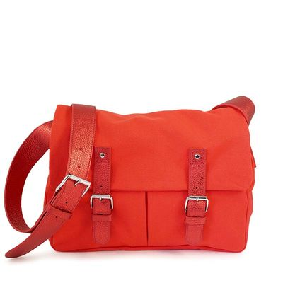 Red cotton canvas messenger with leather trim