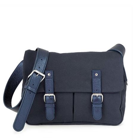Navy cotton canvas messenger with leather trim