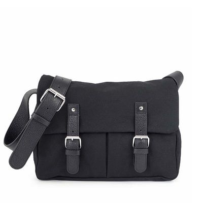 Black cotton canvas messenger with leather trim