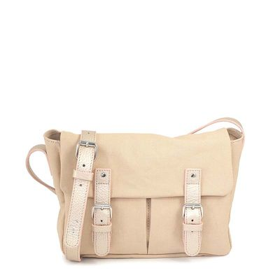 beige cotton canvas messenger bag