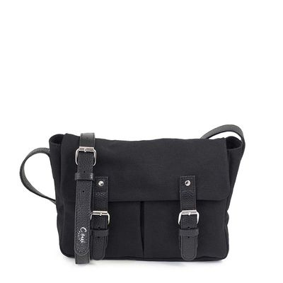 black cotton canvas messenger bag