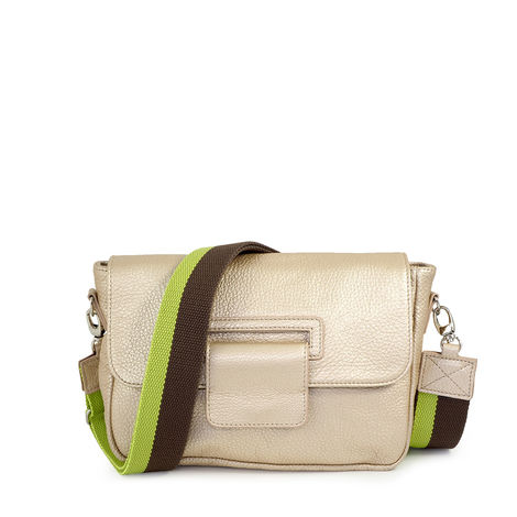 grained leather crossbody, small size,beige