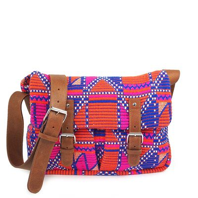 Multicolore jacquard fabric satchel bag